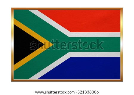 South African national official flag. Patriotic symbol, banner, element, background. Correct colors. Flag of South Africa , golden frame, fabric texture, illustration. Accurate size, color