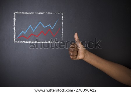 South African or African American woman teacher or student thumbs up against blackboard background with chalk growth line graph