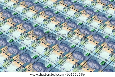 South african rands bills stacks background. - stock photo
