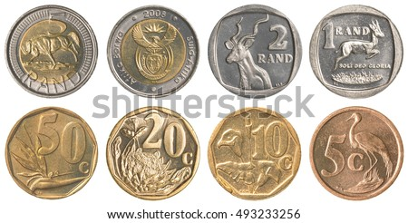 south african rands coins collection set isolated on white background