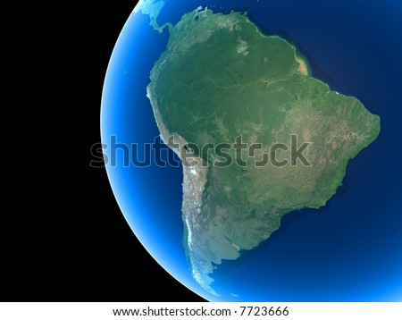 South America as seen from space - stock photo
