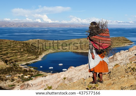 South America, Bolivia - Isla del Sol on the Titicaca lake.. Ethnic woman returning to the village with wood being used to make a fire in order to cook the food - stock photo