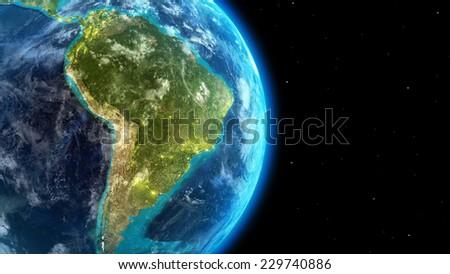 South America continent along  with city lights from outer space-Elements of this image furnished by NASA - stock photo