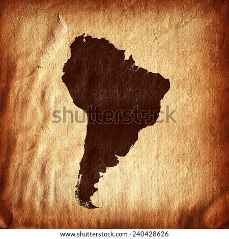 South America,continent, map and wall background - stock photo