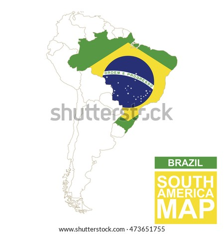 south america contoured map with highlighted brazil brazil map and flag on south america map