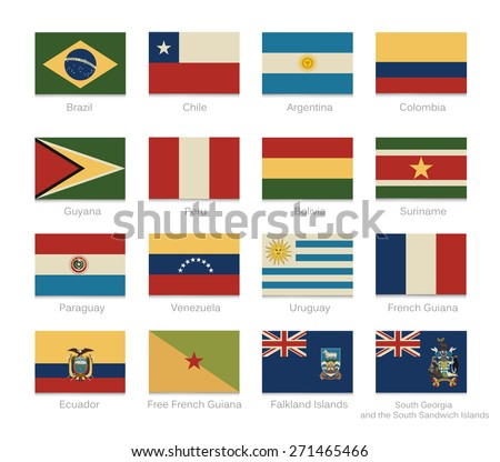 South America flags with a vintage colors. Raster illustration. - stock photo