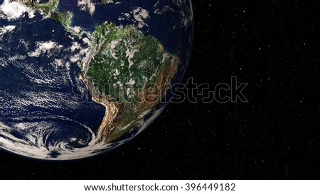 South America Globe View (Elements of this image furnished by NASA) - stock photo