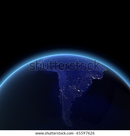 South America night render. Maps from NASA imagery - stock photo