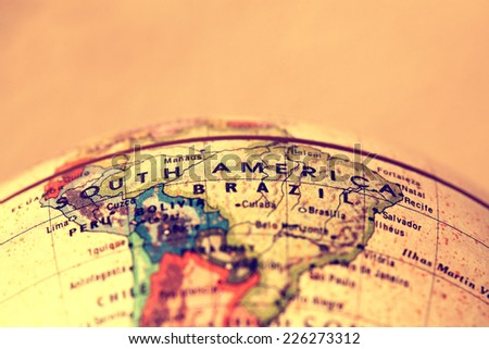 South America  on atlas world map - stock photo