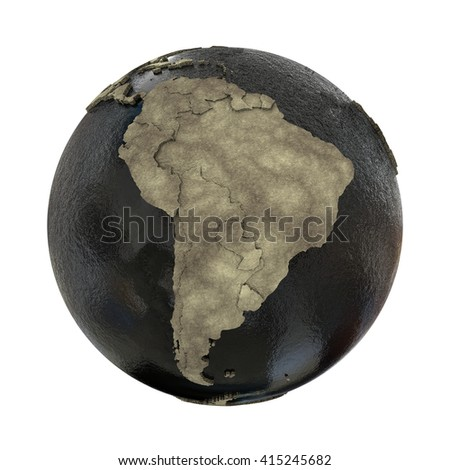 South America on 3D model of planet Earth with black oily oceans and concrete continents with embossed countries. Concept of petroleum industry. 3D illustration isolated on white background. - stock photo