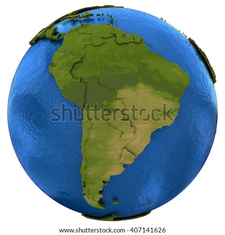 South America on detailed model of planet Earth with visible country borders on green land and waves on the ocean waters. 3D Illustration isolated on white background.