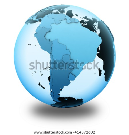 South America on translucent model of planet Earth with visible continents blue shaded countries. 3D illustration isolated on white background with shadow. - stock photo