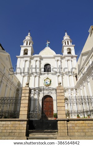 South America, The capital city of Bolivia - Sucre has a rich colonial heritage, evident in its buildings, street-scapes and numerous churches. Important tourist place.  Chuquisaca Department building - stock photo