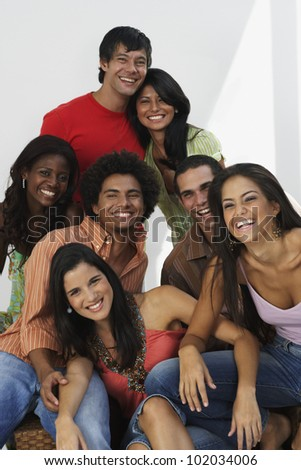 South American friends laughing - stock photo