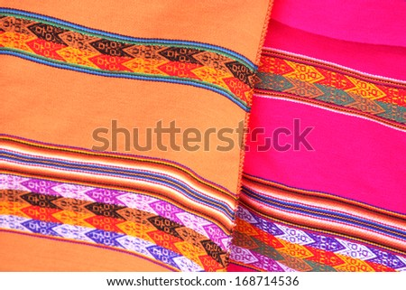 South American hand made colourful fabric, Peru. Traditional patterns & design. - stock photo