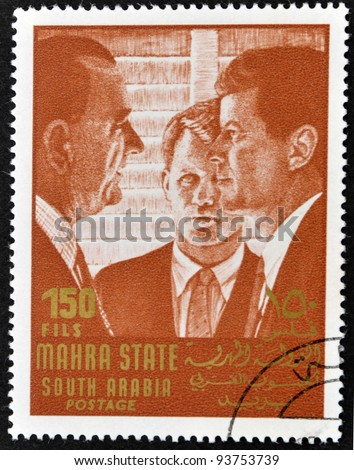 SOUTH ARABIA - CIRCA 1967: stamp printed by South Arabia, shows John Fitzgerald Kennedy, circa 1967.
