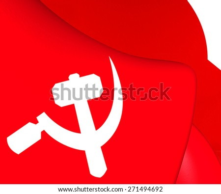 South Asian Communist Flag. Close Up. - stock photo