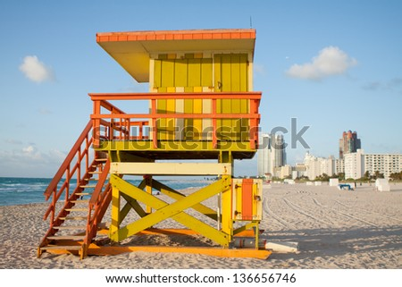 South Beach 8th street Lifeguard Tower.  Early morning pic of lifeguard station across from 8th street and Ocean Drive at South Beach. - stock photo
