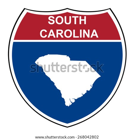 South Carolina American interstate highway road shield isolated on a white background. - stock photo