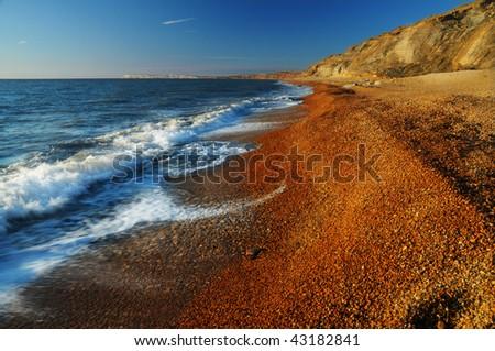 south coast beach,isle of wight,england. - stock photo