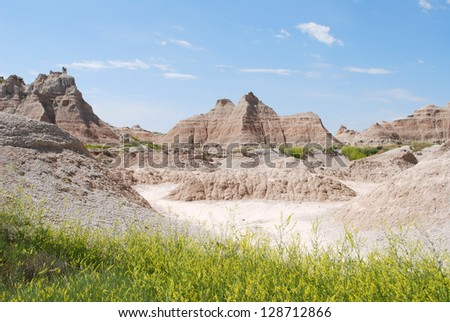 South Dakota badlands with prairie grass in the foreground