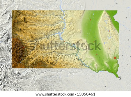 South Dakota. Relief map, with major urban areas and rivers, surrounding territory greyed out. Colored according to elevation. Clip path for the state area included. Data source: NASA - stock photo