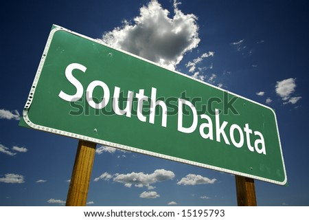 South Dakota Road Sign with dramatic clouds and sky. - stock photo