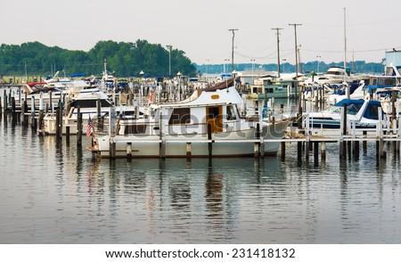 South Detroit river boat marina near Lake Erie - stock photo
