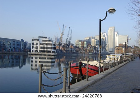 South Dock and Canary Wharf Skyline, London, England - stock photo