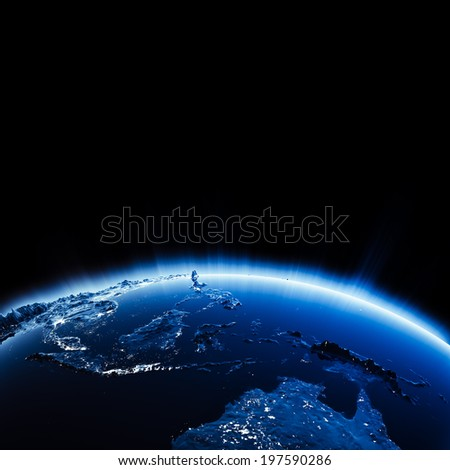 South east Asia city lights at night. Elements of this image furnished by NASA - stock photo