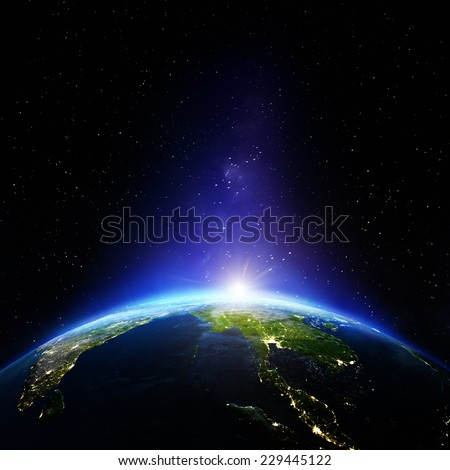 South East Asia night. Elements of this image furnished by NASA - stock photo