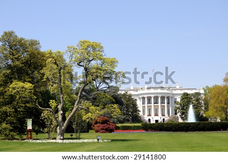 South facade and South lawn of the White House in Washington DC in spring colors - stock photo