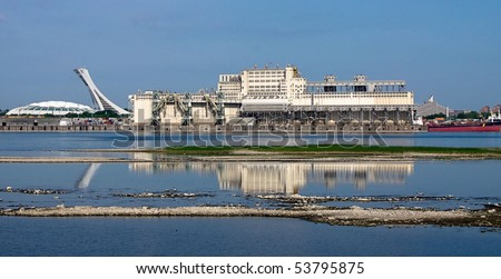 South Facade  Harbour of Montreal and Stadium Background - stock photo