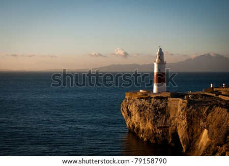 South facing view of the Lighthouse at Gibraltar with Morocco and Cueta in the distance. - stock photo
