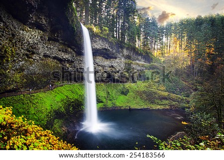 South Falls At Silver Falls State Park - stock photo