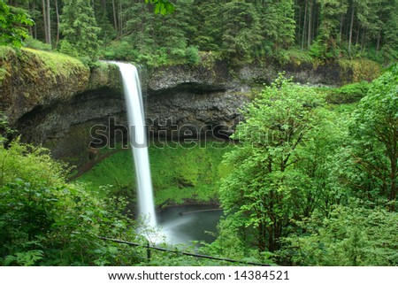 South falls during the spring of 2008. Silver falls state park, Oregon. - stock photo