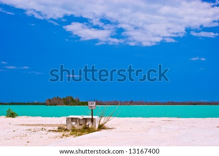 South Florida Limestone Quarry With Aqua-Colored lake - stock photo