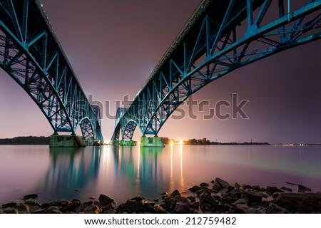 South Grand Island Bridge spans the Niagara River in Upstate New York. - stock photo