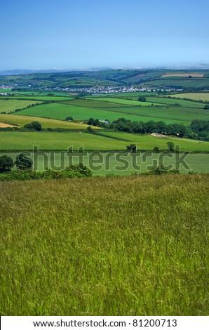 south hams countryside devon england uk - stock photo