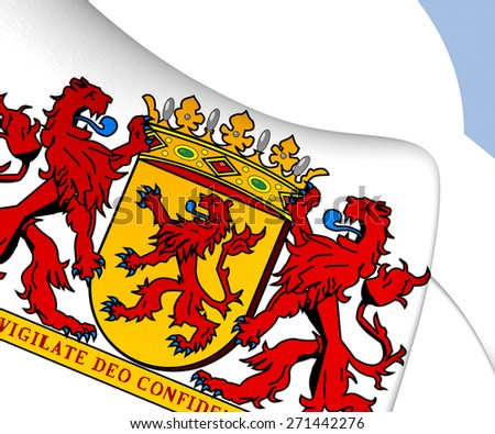 South Holland Coat of Arms, Netherlands. Close Up. - stock photo