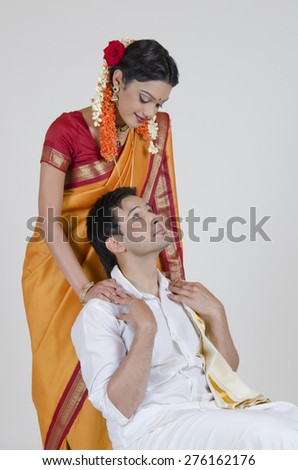 South Indian couple - stock photo