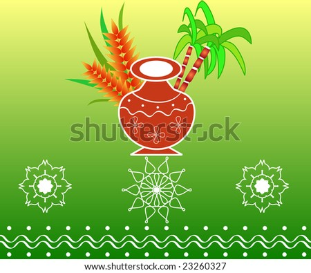 South Indian harvest festival Pongal design with pot, sugarcane and grains - stock photo