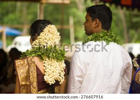 South Indian Malayali wedding Trichur, Kerala, south India, Asia  - stock photo