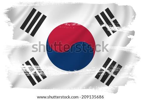 South Korea flag backdrop background texture. - stock photo