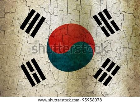 South Korea flag on a cracked grunge background - stock photo