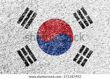 South Korea flag on grass background texture - stock photo