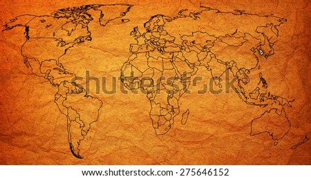 south korea flag on old vintage world map with national borders - stock photo