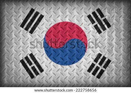 South Korea flag pattern on the diamond metal plate texture ,vintage style - stock photo