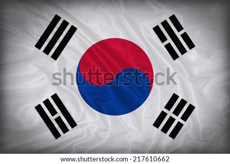 South Korea flag pattern on the fabric texture ,vintage style - stock photo