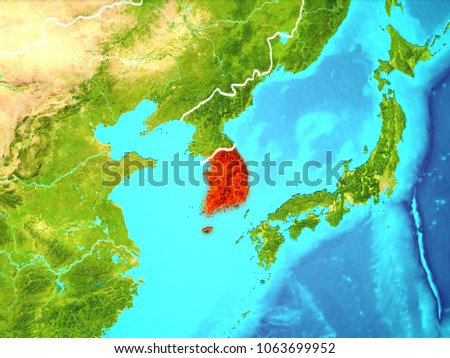 Map south korean north korea on stock illustration 426648910 south korea highlighted in red from earths orbit 3d illustration elements of this image gumiabroncs Images